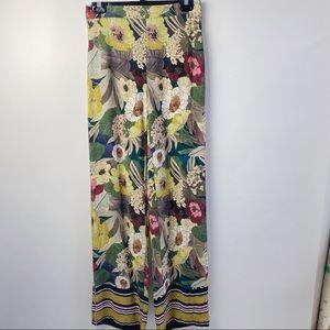 Zara floral wide leg boho pants